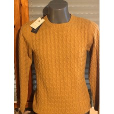 100% CASHMERE ochre-colored, knitted with braid